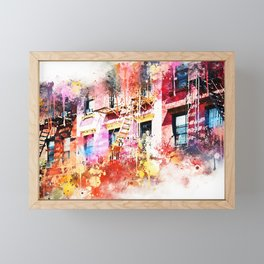 NYC Watercolor Collection - New York Facades Framed Mini Art Print