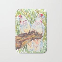 Long Billed Corellas Couple - watercolour of Australian parrots Bath Mat