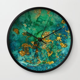 Malachite and Gold Glitter Stone Ink Abstract Gem Glamour Marble Wall Clock