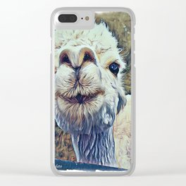 Baby White Alpaca Clear iPhone Case
