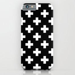 Black & White Plus Sign Pattern iPhone Case