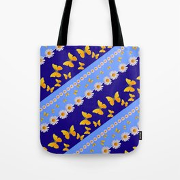 BLUE ART YELLOW BUTTERFLIES & WHITE DAISIES  DIAGONAL STRIPES Tote Bag