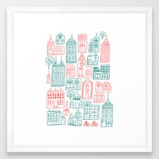 Cityscape - Teal and Coral on white Framed Art Print