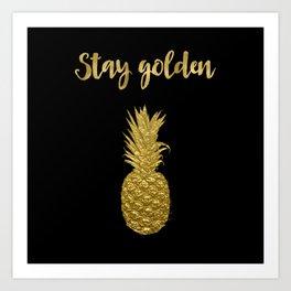 Stay Golden Precious Tropical Pineapple Art Print