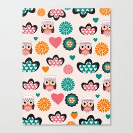 Owls and hearts Canvas Print