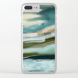 Blue and Green Ocean and Sand Abstract Clear iPhone Case