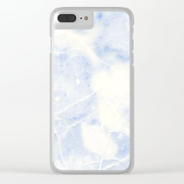 Blue and White Marble Waves Clear iPhone Case