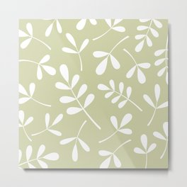 Assorted Leaf Silhouettes White on Lime Metal Print