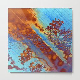 Abstract Blue and Copper Rust Metal Print