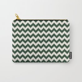 Geometrical forest green ivory modern chevron Carry-All Pouch