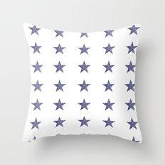 50 Blue Stars Throw Pillow