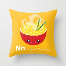 N is for Noodles Throw Pillow
