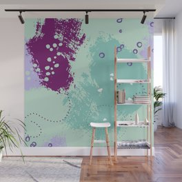 Mint viole strokes Wall Mural