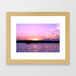 Bass boats and purple sunsets Framed Art Print