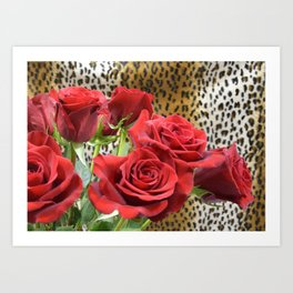 Leopard Roses // Wild Roses, Red Flowers Art Print
