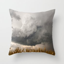 Marshmallow - Storm Cloud Over Golden Wheat in Kansas Throw Pillow