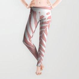 Pink Paint Stroke of Palm Leaves Leggings