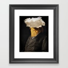 The inability of men with golden faces to be photographed without cloud. Framed Art Print