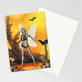Beautifuk fairy with butterflies Stationery Cards