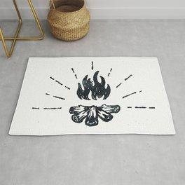 Campfire Black and White Flames Vintage Rug