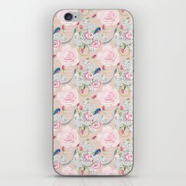 Watercolor Roses and Blush French Script iPhone Skin
