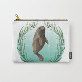 West Indian Manatee in Eel Grass Wreath Carry-All Pouch