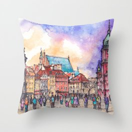 Warsaw ink and watercolor illustration Throw Pillow