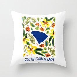South Carolina + Florals Throw Pillow