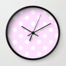 Polka Dots - White on Pastel Violet Wall Clock