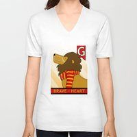 gryffindor V-neck T-shirts featuring Gryffindor Lion by makoshark