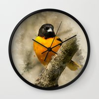 baltimore Wall Clocks featuring Baltimore Oriole Watercolor Painting by Christina Rollo