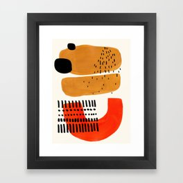 Mid Century Modern Abstract Minimalist Retro Vintage Style Fun Playful Ochre Yellow Ochre Orange  Framed Art Print