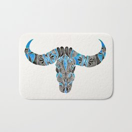 Water Buffalo Skull – Black & Blue Bath Mat