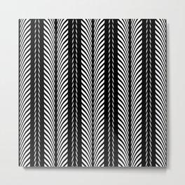 Geometric Black and White Herringbone Tribal Pattern Metal Print