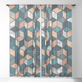 Copper, Marble and Concrete Cubes with Blue Sheer Curtain