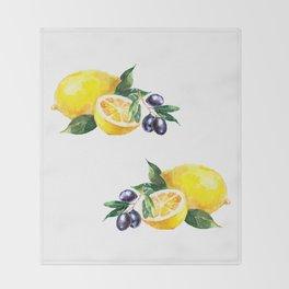 Lemons and Olives Mediterranean Foods Throw Blanket