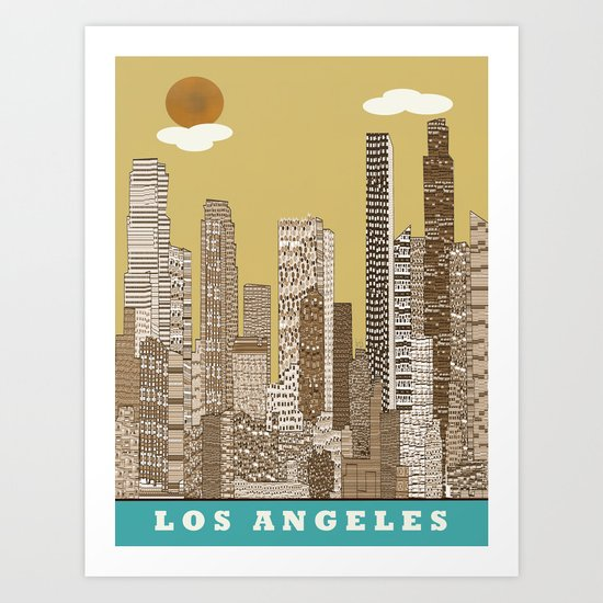 los angeles city   (vintage) Art Print