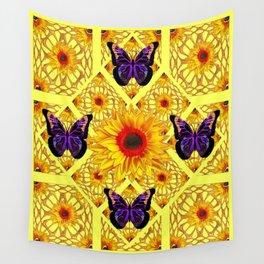 Black-Purple Butterflies Ornate  Sunflower  Patterns Design Wall Tapestry