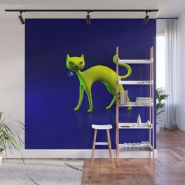 The Yellow Cat And Glass Blue Cherry Wall Mural