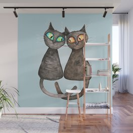 Two cute loving cats Wall Mural