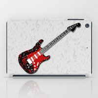 music notes iPad Cases featuring Music Notes Electric Guitar by GBC Design