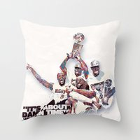 lebron Throw Pillows featuring Lebron//NBA Champion 2012 by Largetosti