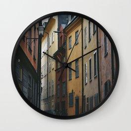 Street in Gamla Stan , Stockholm Sweden Wall Clock
