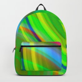 Cross curved ovals with a crisp malachite accent and all the colors of the rainbow. Backpack