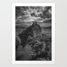 A castle on top of the mountain in black and white Art Print