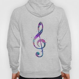 Treble Clef Sign Watercolor Print Blue Purple Wall Art Poster Music Poster Hoody