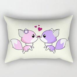 Cute kawaii foxes cartoon in pink and purple Rectangular Pillow