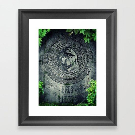 Super Mario Memorial Stone - Bros Before Hoes Framed Art Print