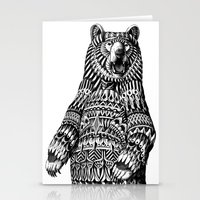 ornate Stationery Cards featuring Ornate Grizzly Bear by BIOWORKZ