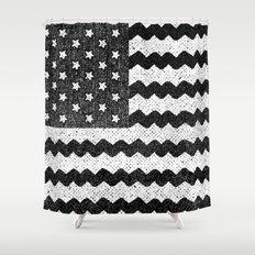 Black Zig Zag Flag Shower Curtain